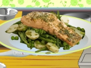 Salmon with Minty Veg