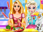 Elsa and Rapunzel Cooking Disaster